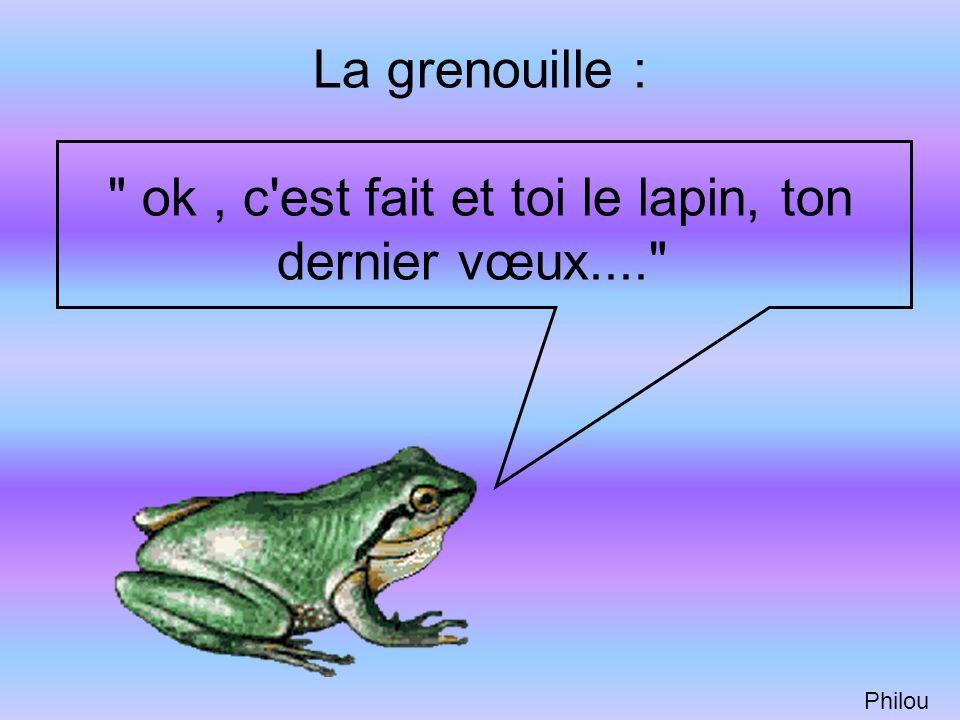 La grenouille : ok , c est fait et toi le lapin, ton dernier vœux....