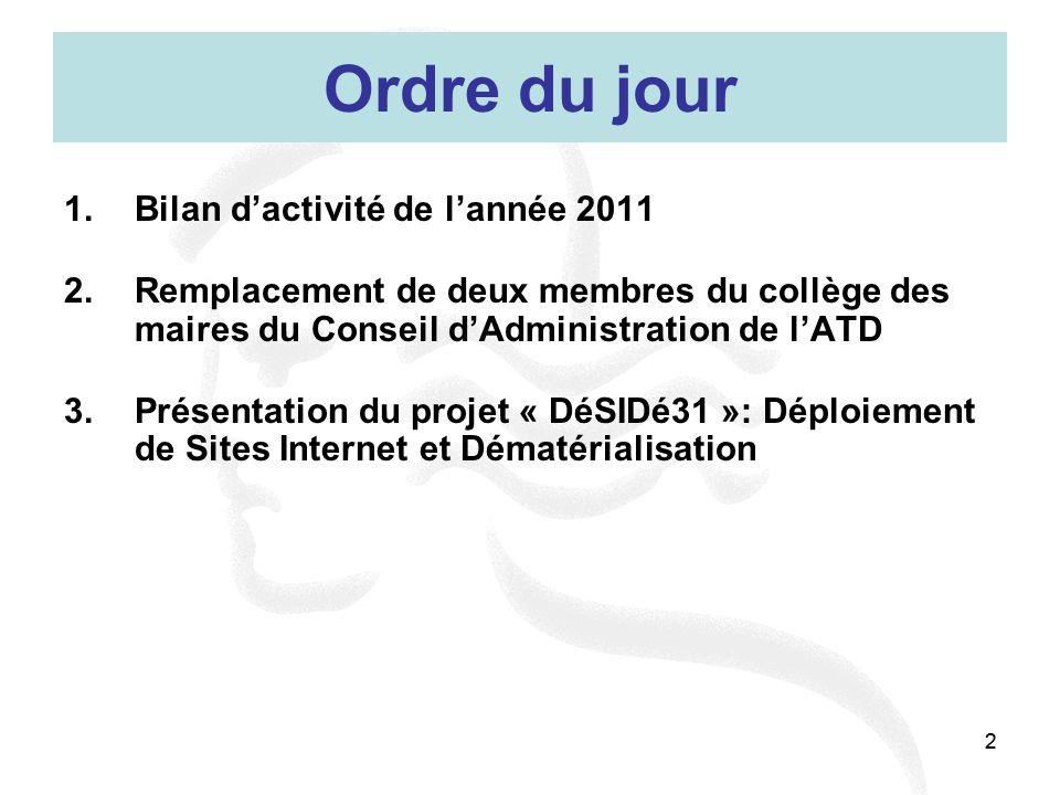 Ordre du jour Bilan d'activité de l'année 2011