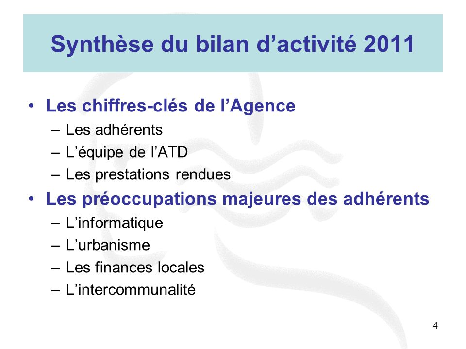 Synthèse du bilan d'activité 2011