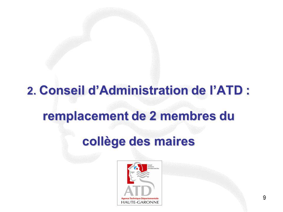 2. Conseil d'Administration de l'ATD : remplacement de 2 membres du