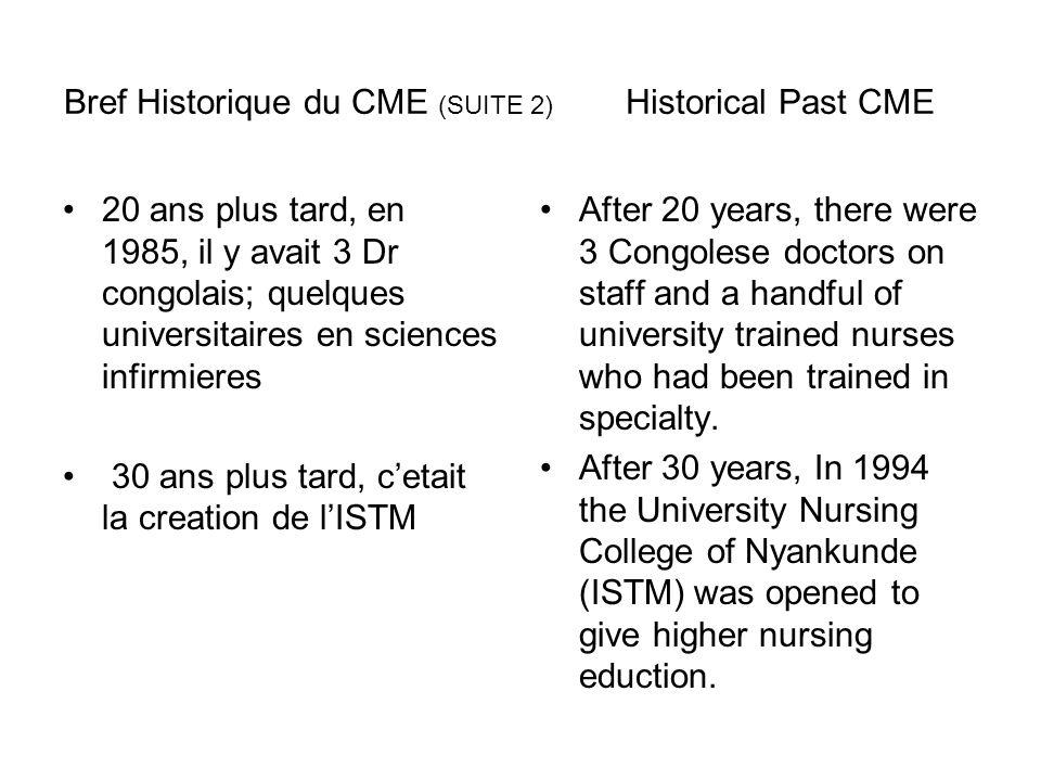 Bref Historique du CME (SUITE 2) Historical Past CME