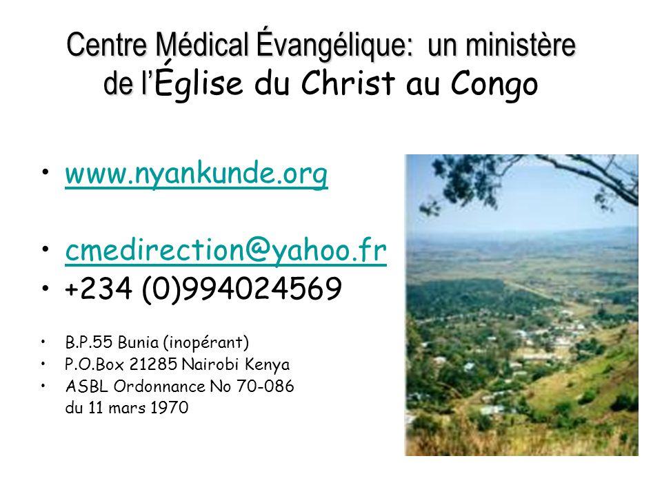 Centre Médical Évangélique: un ministère de l'Église du Christ au Congo