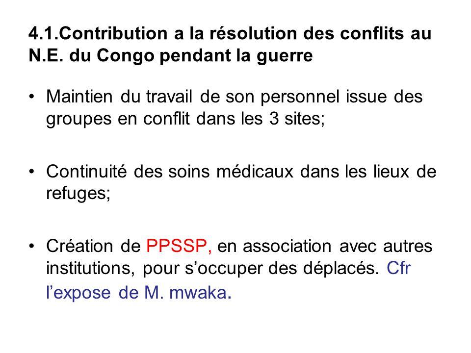 4. 1. Contribution a la résolution des conflits au N. E