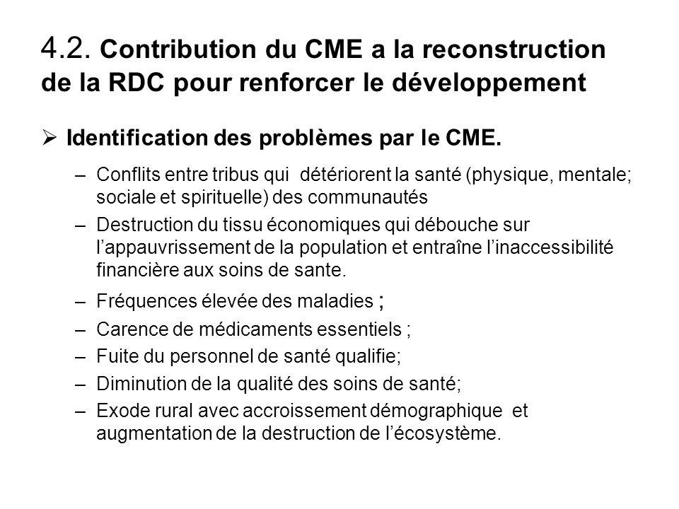 4.2. Contribution du CME a la reconstruction de la RDC pour renforcer le développement