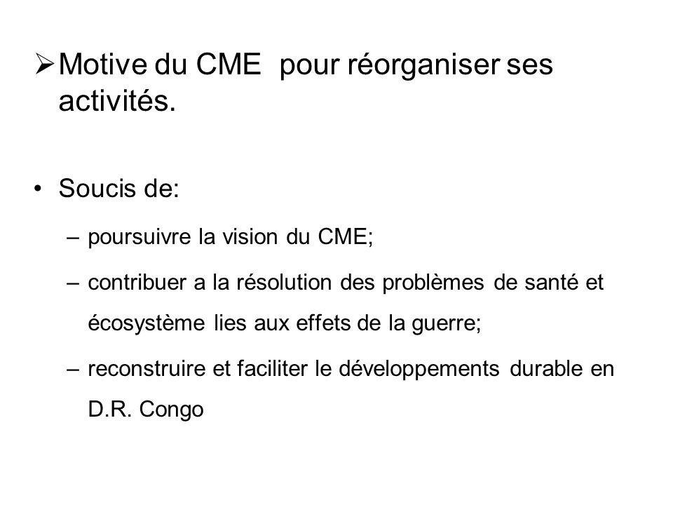 Motive du CME pour réorganiser ses activités.