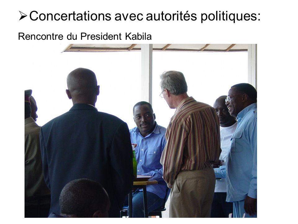 Concertations avec autorités politiques: