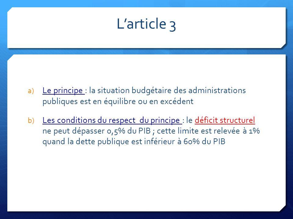 L'article 3 Le principe : la situation budgétaire des administrations publiques est en équilibre ou en excédent.