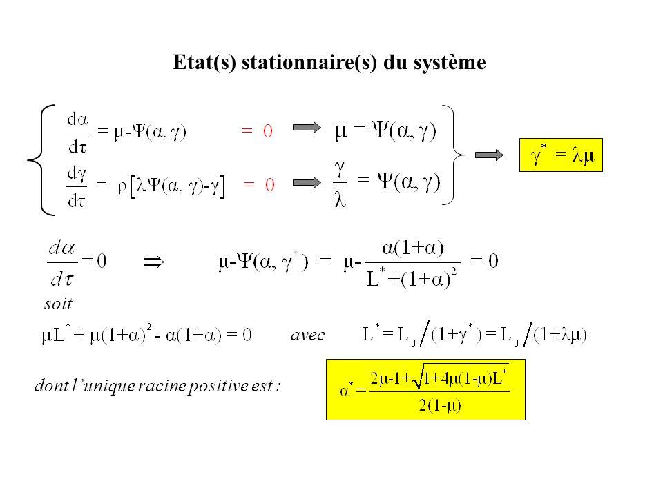 Etat(s) stationnaire(s) du système