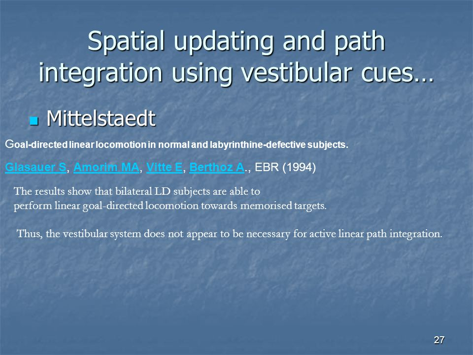 Spatial updating and path integration using vestibular cues…