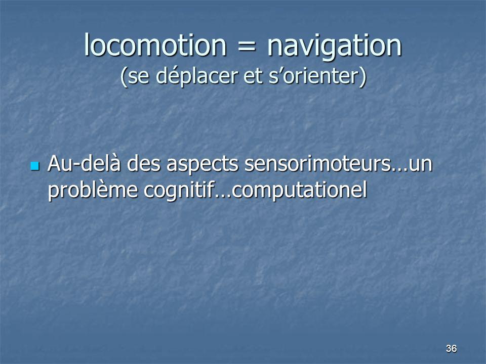 locomotion = navigation (se déplacer et s'orienter)