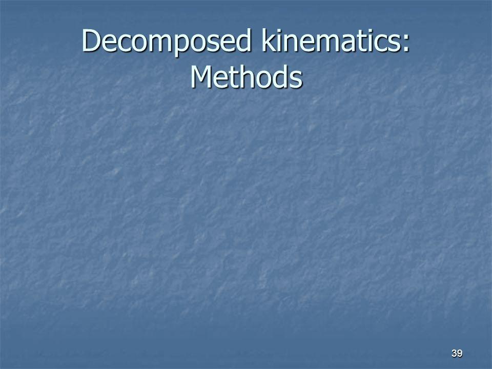 Decomposed kinematics: Methods