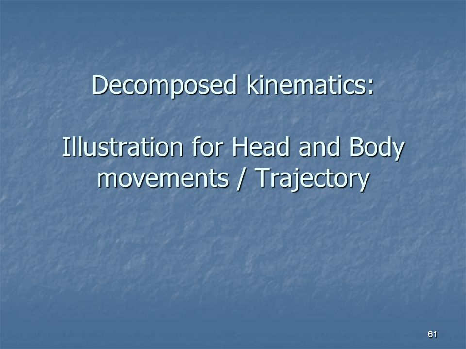 Decomposed kinematics: Illustration for Head and Body movements / Trajectory