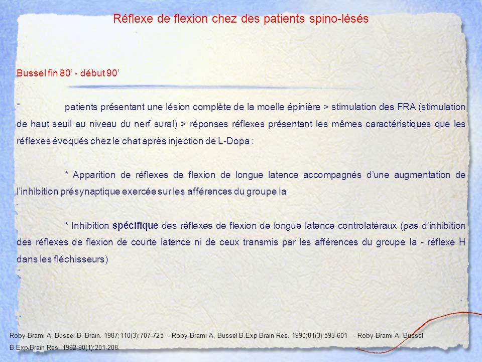Réflexe de flexion chez des patients spino-lésés