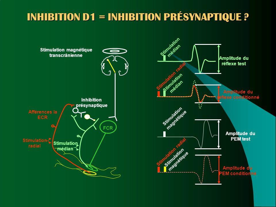 INHIBITION D1 = INHIBITION PRÉSYNAPTIQUE