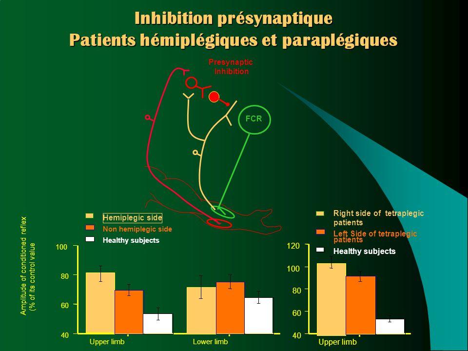 Inhibition présynaptique Patients hémiplégiques et paraplégiques