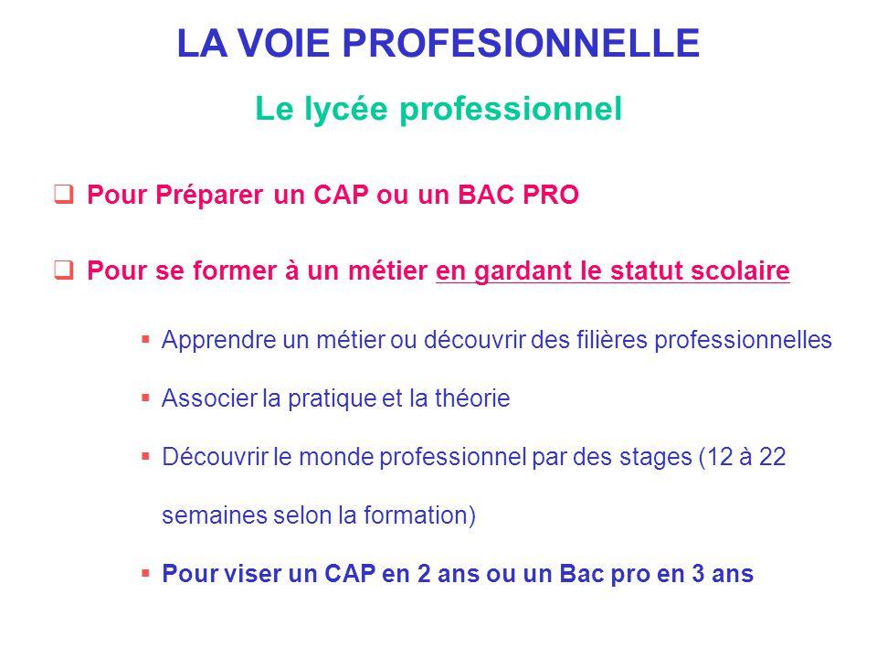 LA VOIE PROFESIONNELLE Le lycée professionnel