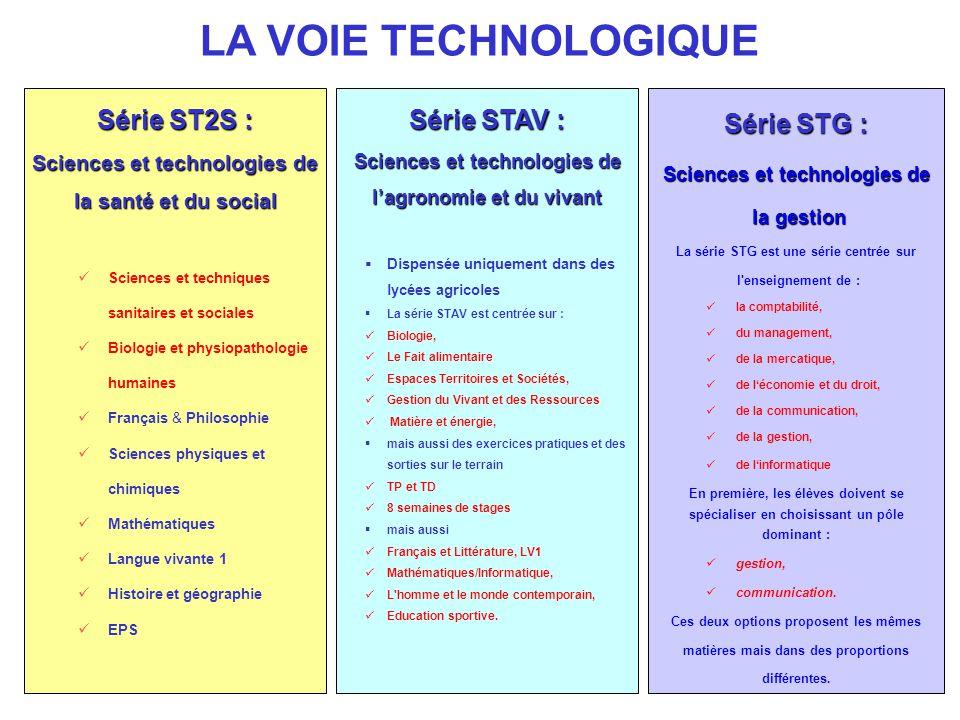 LA VOIE TECHNOLOGIQUE Série ST2S : Série STAV : Série STG :