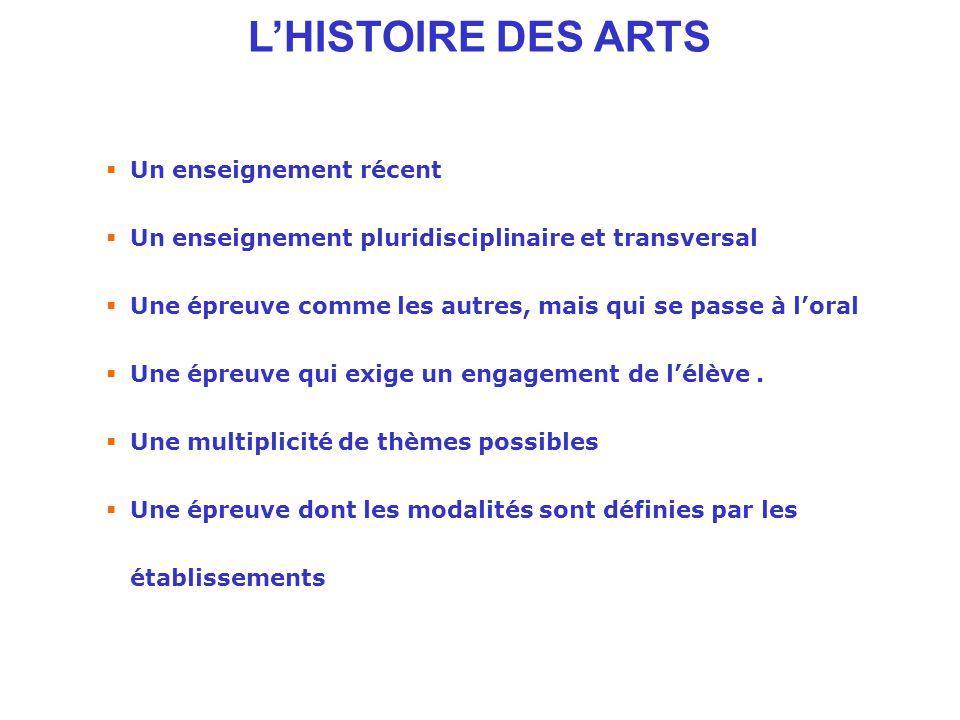 L'HISTOIRE DES ARTS Un enseignement récent