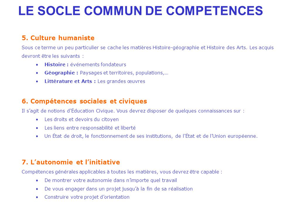 LE SOCLE COMMUN DE COMPETENCES