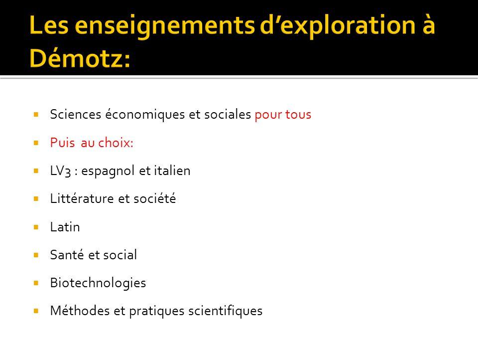 Les enseignements d'exploration à Démotz: