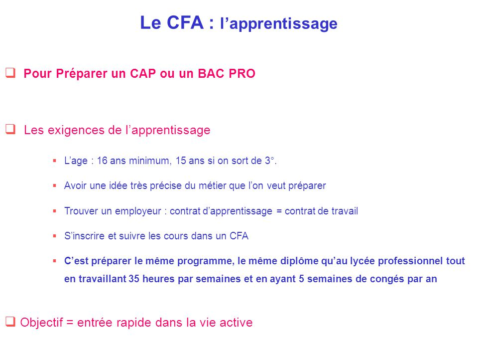 Le CFA : l'apprentissage