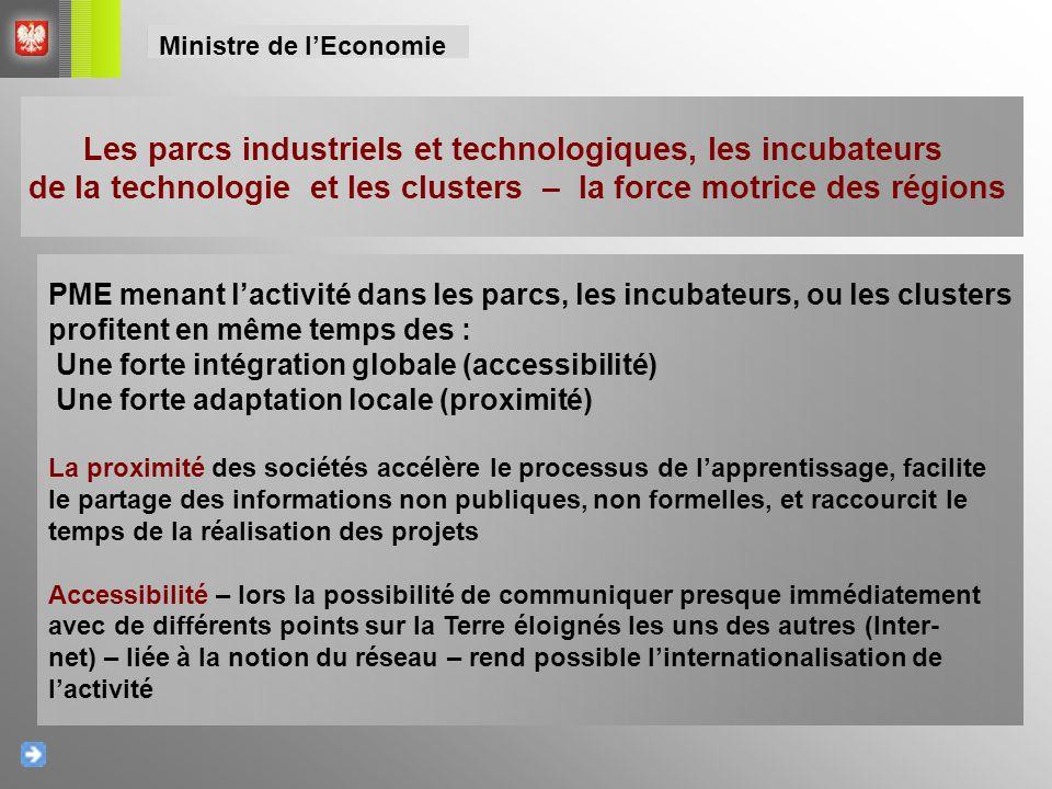Les parcs industriels et technologiques, les incubateurs