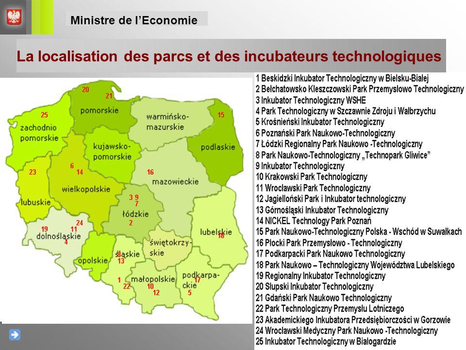 La localisation des parcs et des incubateurs technologiques