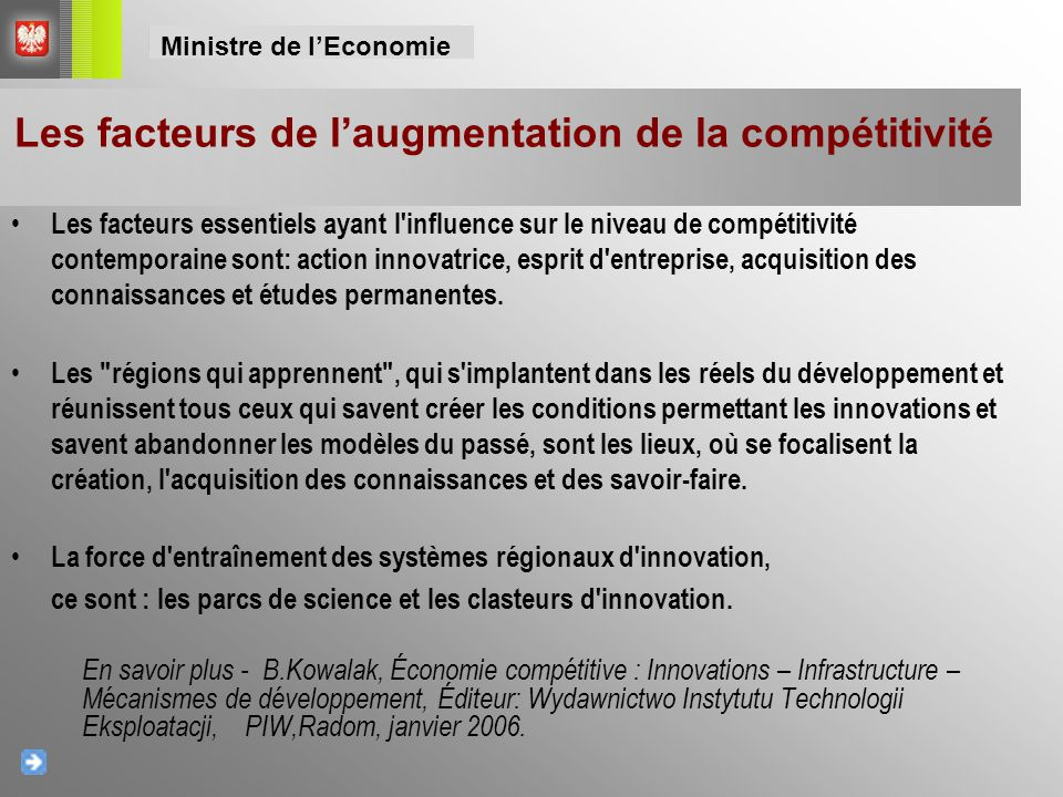 Les facteurs de l'augmentation de la compétitivité
