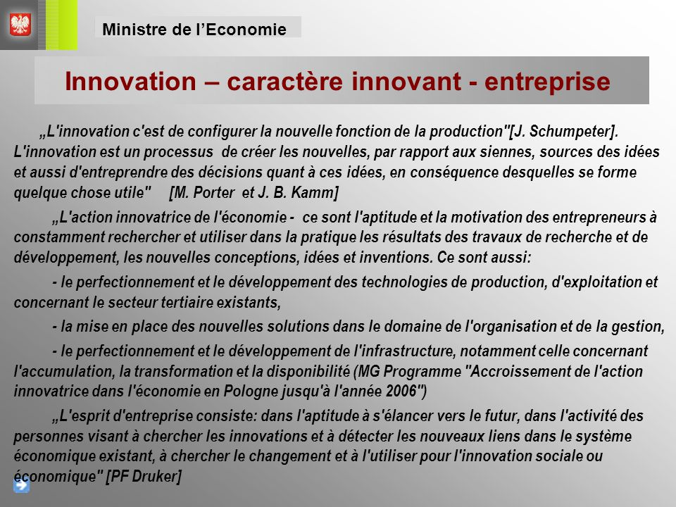 Innovation – caractère innovant - entreprise