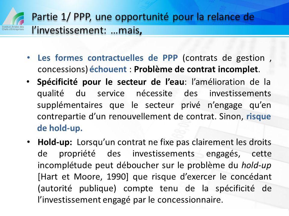 Partie 1/ PPP, une opportunité pour la relance de l'investissement: …mais,