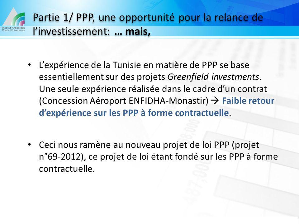 Partie 1/ PPP, une opportunité pour la relance de l'investissement: … mais,
