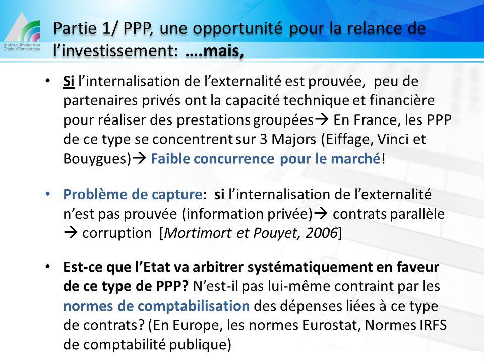 Partie 1/ PPP, une opportunité pour la relance de l'investissement: …