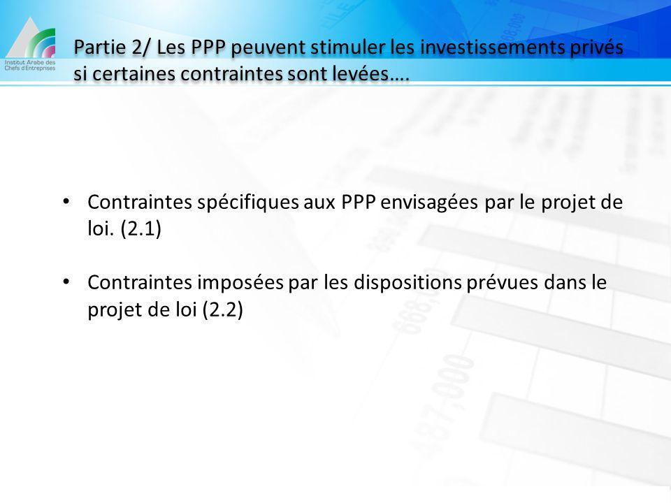 Partie 2/ Les PPP peuvent stimuler les investissements privés si certaines contraintes sont levées….
