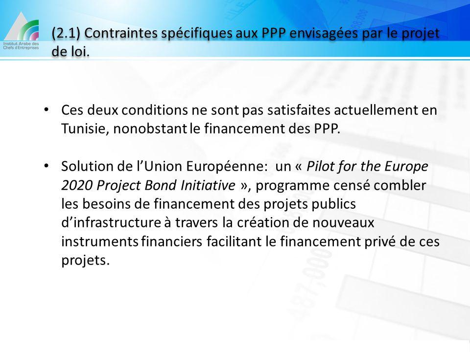 (2.1) Contraintes spécifiques aux PPP envisagées par le projet de loi.