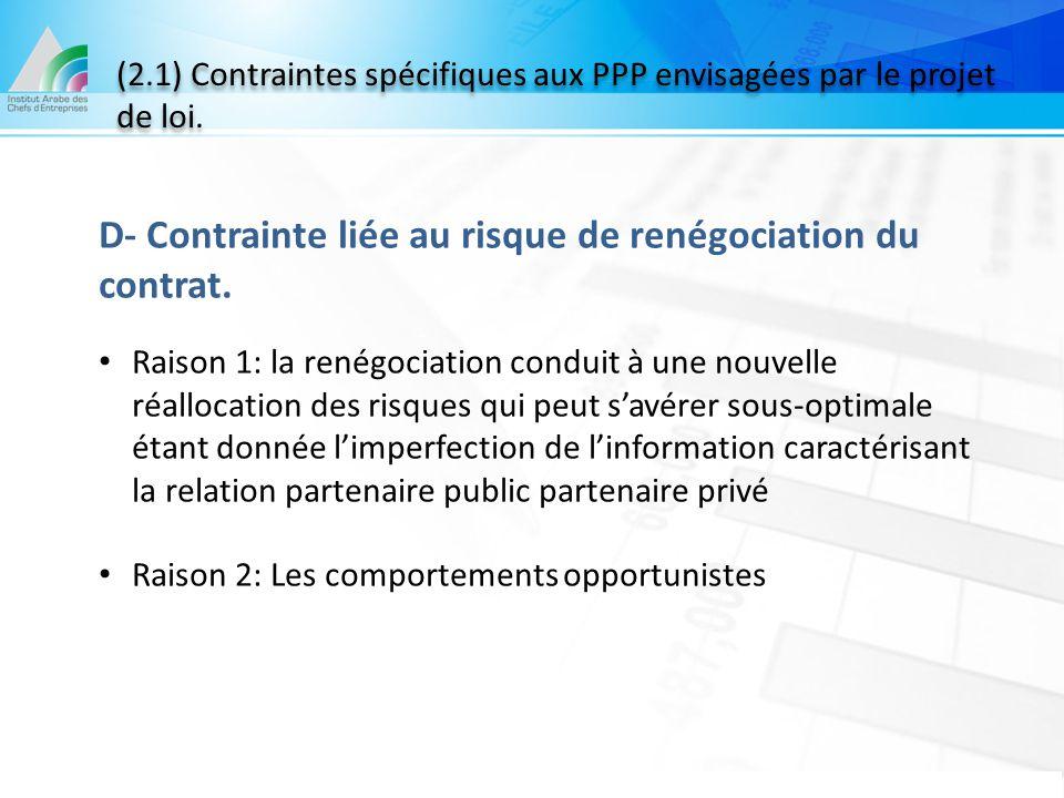 D- Contrainte liée au risque de renégociation du contrat.