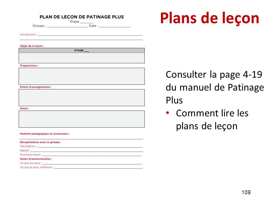 Plans de leçon Consulter la page 4-19 du manuel de Patinage Plus