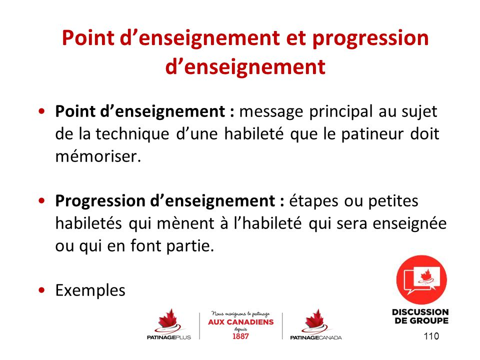 Point d'enseignement et progression d'enseignement