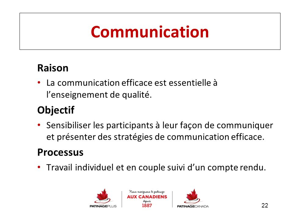 Communication Raison Objectif Processus