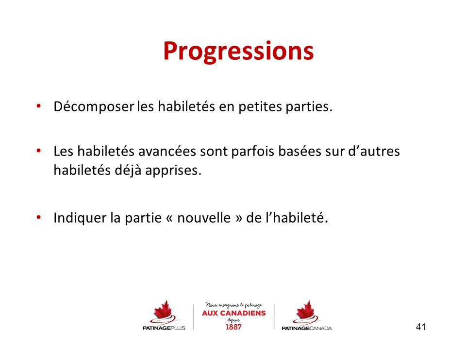Progressions Décomposer les habiletés en petites parties.