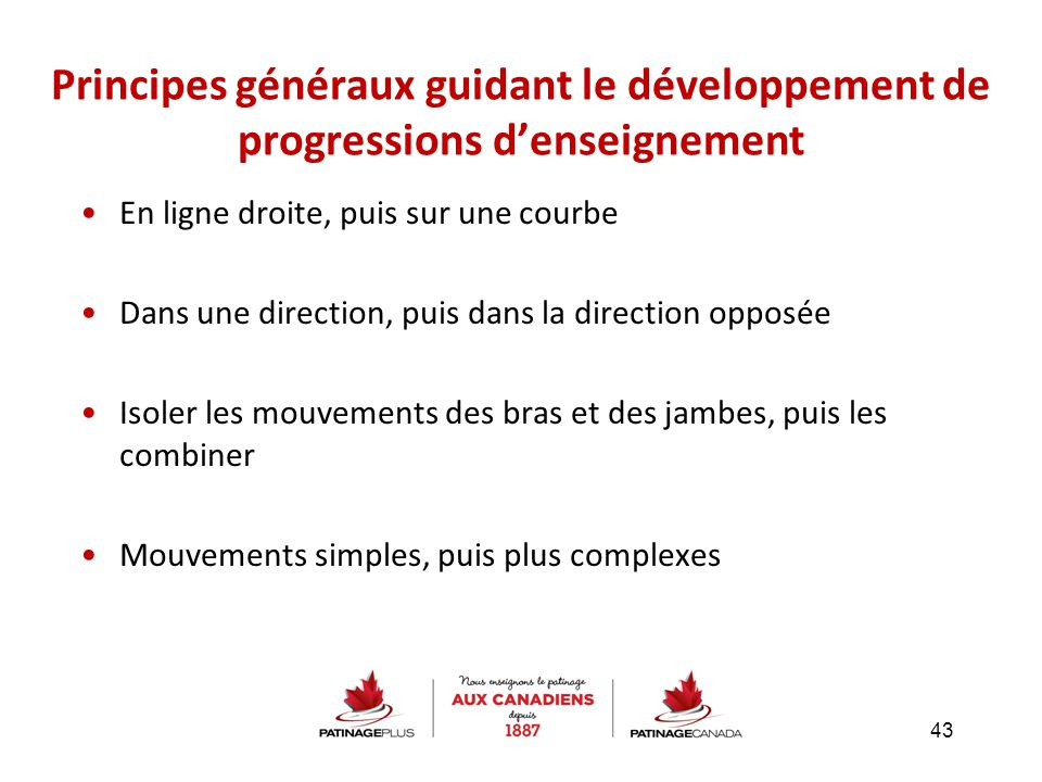 Principes généraux guidant le développement de progressions d'enseignement