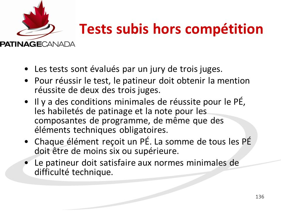 Tests subis hors compétition