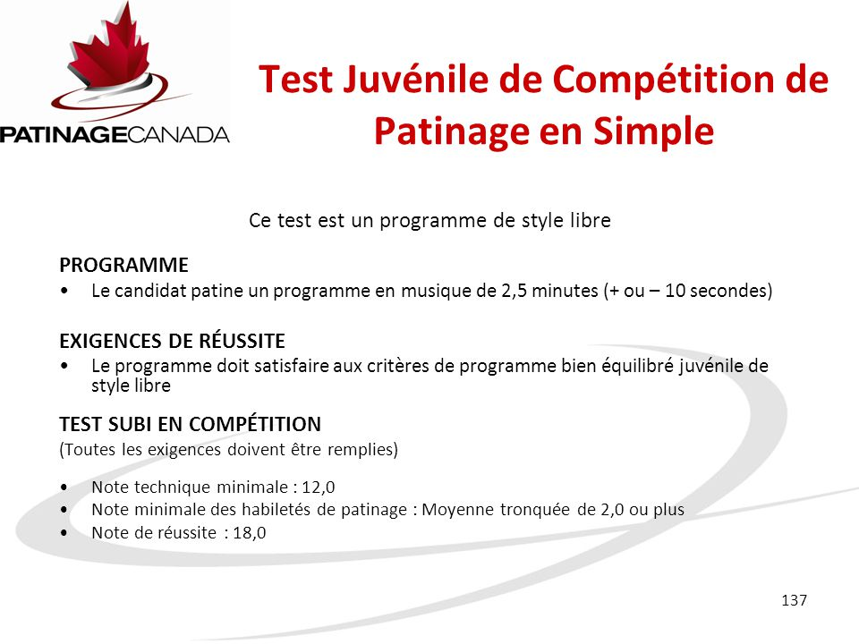 Test Juvénile de Compétition de Patinage en Simple