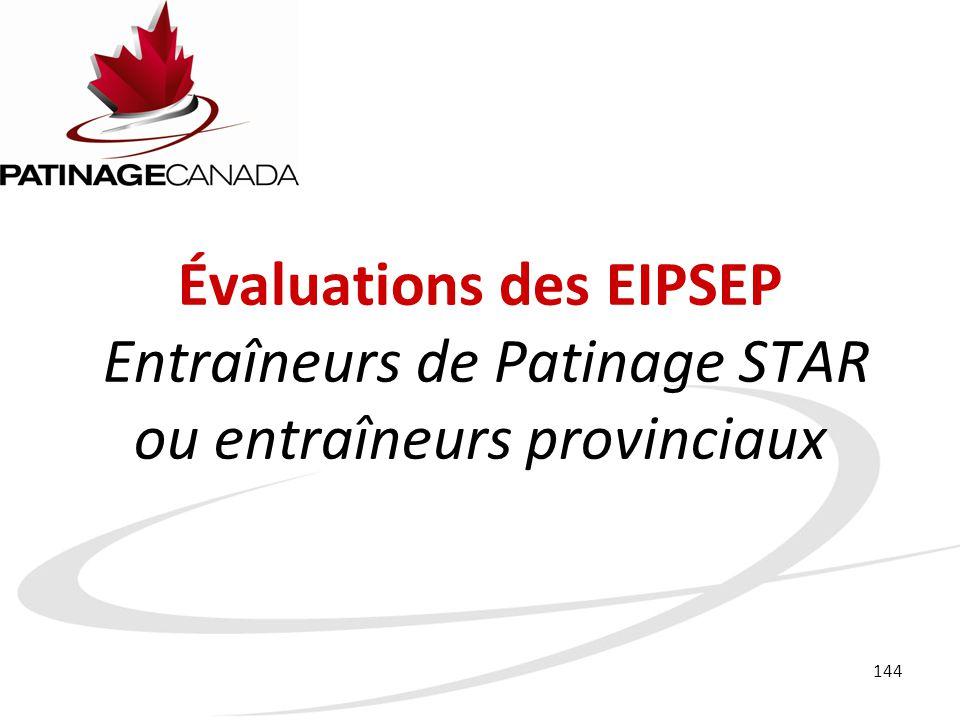 Évaluations des EIPSEP Entraîneurs de Patinage STAR ou entraîneurs provinciaux