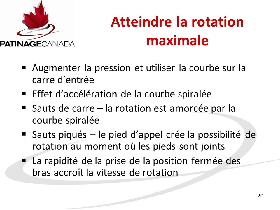 Atteindre la rotation maximale