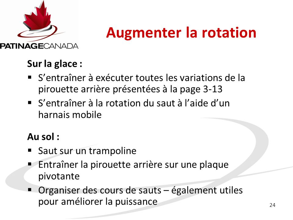 Augmenter la rotation Sur la glace :