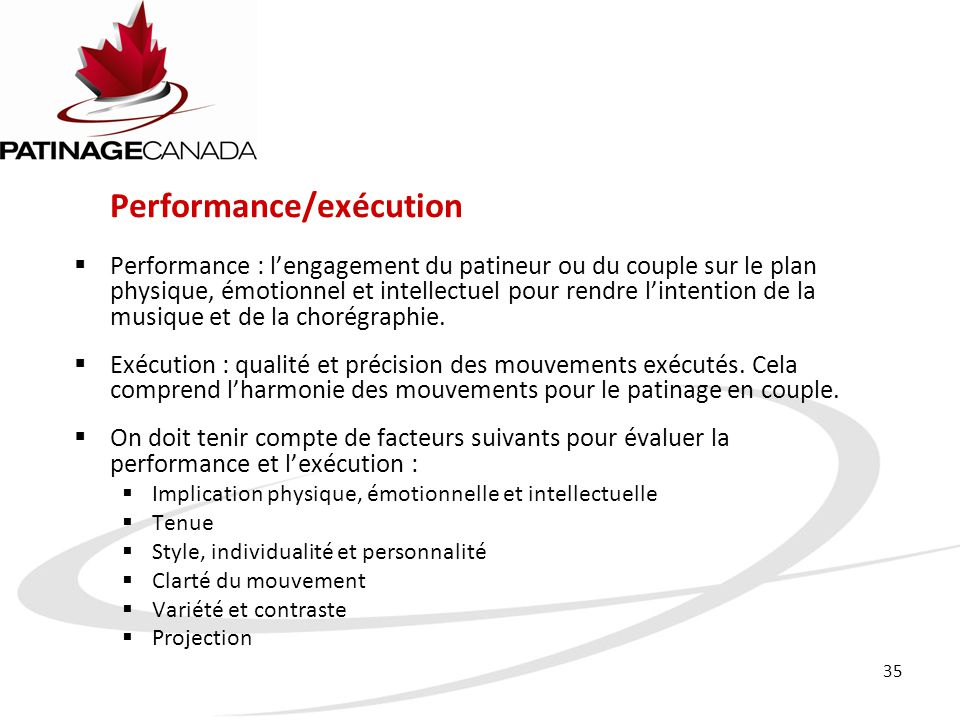 Performance/exécution