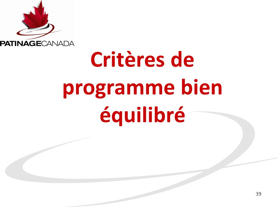 Critères de programme bien équilibré