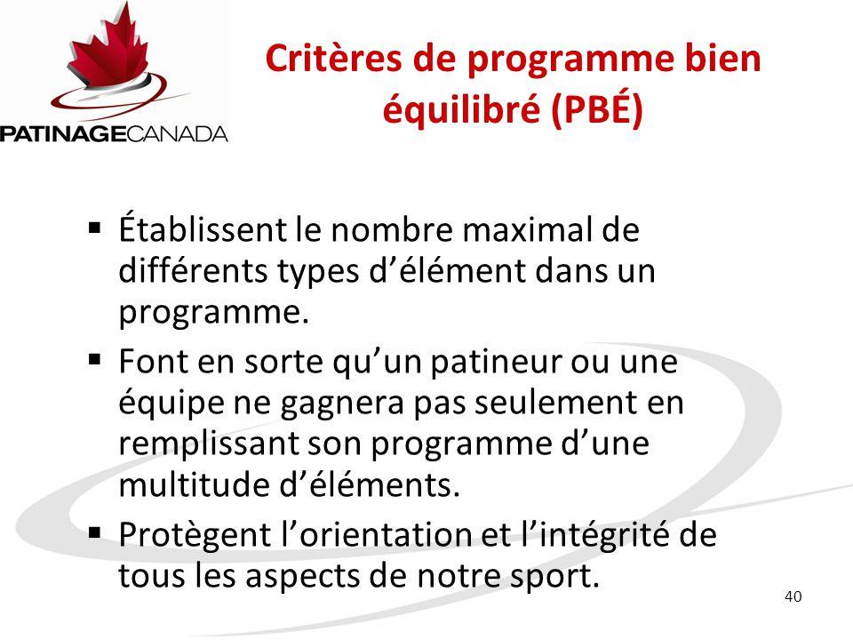 Critères de programme bien équilibré (PBÉ)