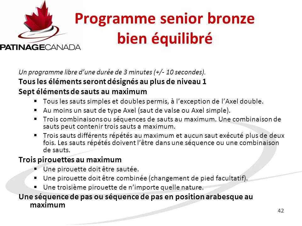 Programme senior bronze bien équilibré