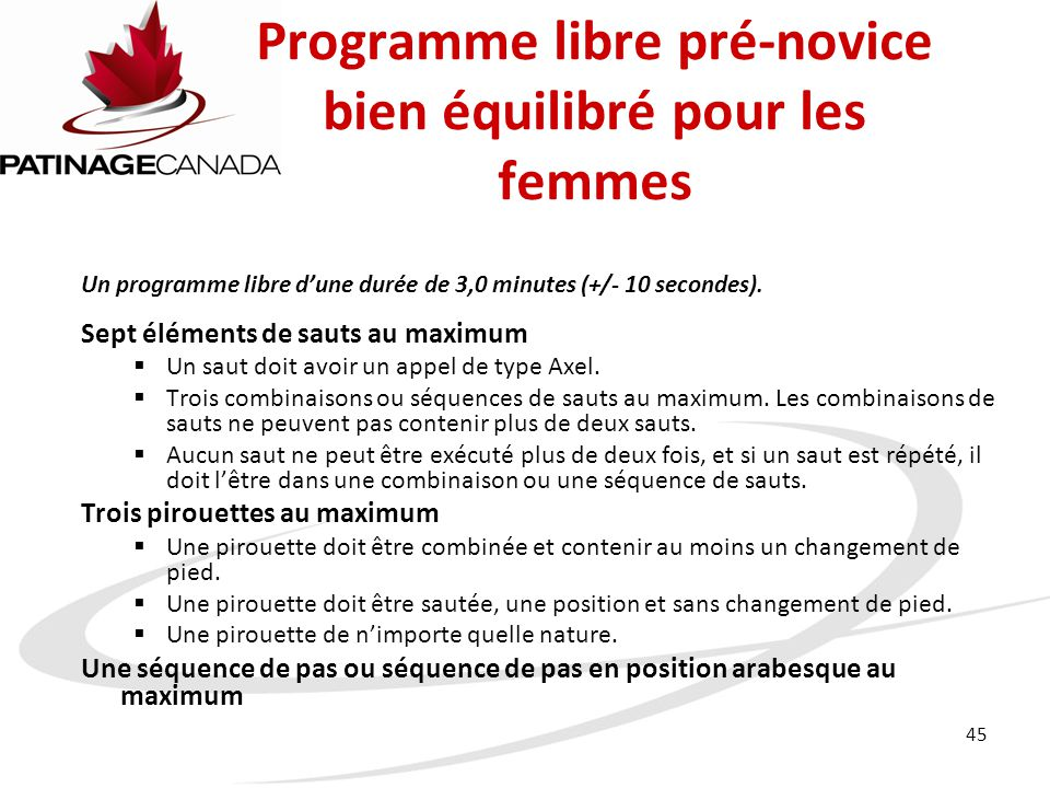 Programme libre pré-novice bien équilibré pour les femmes